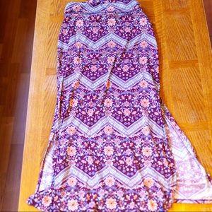 Joe B Floral Maroon Maxi Skirt